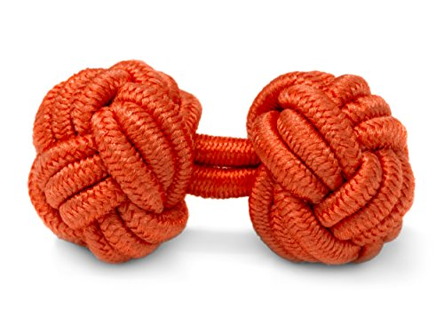 hettenknöpfe Seidenknoten Herren Damen Nylon Stoff | Cufflinks Silk Knots für alle Umschlagmanschetten Hemden | Einfarbig (Orange) (Orange Adult Kostüme)