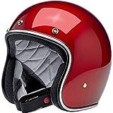 Casco Jet Aperto Biltwell Bonanza Rosso Metallic Candy Red Approvato DOT Helmet Biker Look Stile Universale x Genere Custom Vintage retrò Anni 70 off-Road Street Taglia L
