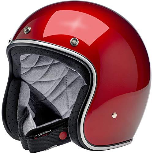 Casco Jet Abierto Biltwell Bonanza Rojo Metallic Candy Red Aprobado Dot Helmet Biker Look Universal para Género Custom Vintage Retro años 70 Off-Road Street Talla XS