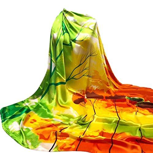Damen Seide-Satin Schal, Baum Drucken Satintuch Kopftuecher Halstuecher Drucke Tücher Und Wraps 140*140CM (Grün)
