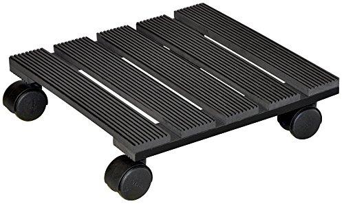 """WAGNER Pflanzenroller \""""WPC\"""" - Wood Plastic Composites, witterungsbeständig, anthrazit, 29 x 29 x 8,3 cm, Tragkraft 60 kg - 20050001"""