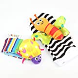 #7: Kuhu Creations® Cute & Stylish Soft Baby Rattles. (2 Units, Style C: Multicolor 1 Wrist & 1 Foot Rattle)