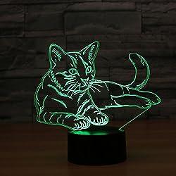 Ahat Illusione ottica 3D Gatto tasto di tocco Colore 7 che cambia la luce di notte del LED Desk Lamp,regalo romantico per l'amante, moglie, fidanzato o fidanzata