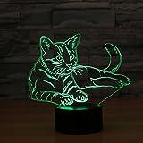 Katze Touch 3D LED-Nachtlicht 7 Farben Schreibtisch Optische Illusions-Lampen mit 150cm USB-Kabel zum Kinder Weihnachtsgeschenk Haus Dekoration