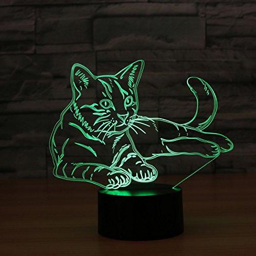 Ahat Chat 3D Visualisation Bulbling Chambre Lumière / Illusion Optique Lampe de Bureau / Lumineux Transparent Acrylique LED Lampe de Table pour Chambre à coucher Chambre à coucher Décor / Holiday cadeau d'anniversaire, Touch-Control USB-Charging avec base en plastique