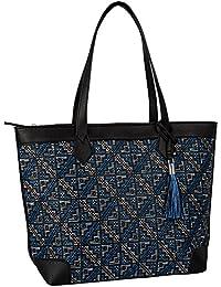 """SIX """"Basic"""" geräumige große schwarze Damen Handtasche Shopper Reißverschluss Innentasche Ethno Muster Quaste Schwarz, Blau, Weiß (463-030)"""