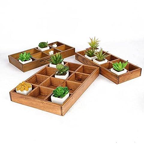 E-meoly vintage de jardin en bois Fleur Pot de fleurs Jardinière Pot de fleurs Jardinière Succulente Lit de fleurs Boîte de stockage de bureau, Bois, Burlywood, 12 Unites