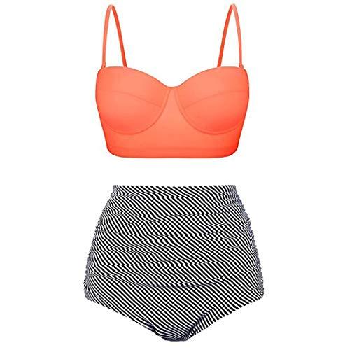 Cioler Damen Bikini Set Vintage Bademode Retro Stil Polka-Punkt mit Hoher Taille Badeanzug Polka Set