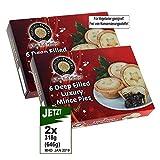 Huntley & Palmers Deep Filled Luxury Mince Pies 2x 6 Pies (6 Stück) - Keine Konservierungsstoffe
