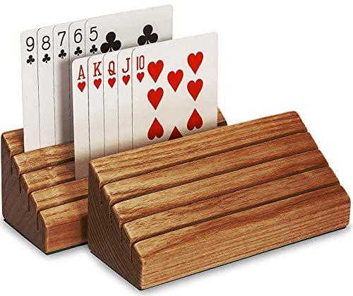 SKAVIJ Holz handgefertigt Rack Spielkartenhalter dekorative Karte Organizer Fach