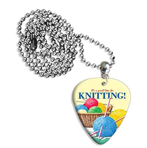 Knitting Wool Martin Wiscombe Gitarre Plektrum Pick Halskette Necklace Vintage Retro