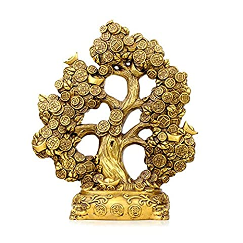 PENG Brass open feng shui pure copper cash cow ornaments Lucky tree fortune tree Lucky money tree home crafts