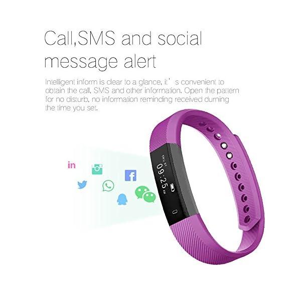 Arbily Pulsera Inteligente, Fitness Tracker Smart Wristband Bracelet monitorear la Actividad de Seguimiento de BOT¨®n t¨¢ctil de Bluetooth Pulsera Brazalete Deportivo Impermeable IP66 de la Aptitud 2