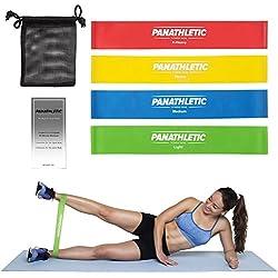 Bandas Elasticas Fitness / Cintas Elásticas de Resistencia con Guía de Ejercicios y Bolsa, Set de 4 Bandas -- juego de 4x banda elastica, cinta elástica para musculation, yoga, crossfit, entrenamiento de fuerza, pilates, fisioterapia