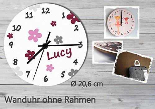 Kinder Wanduhr Kinderuhr Kinderzimmer Uhr mit Namen personalisiert laufruhig leise Blumen grau brombeere