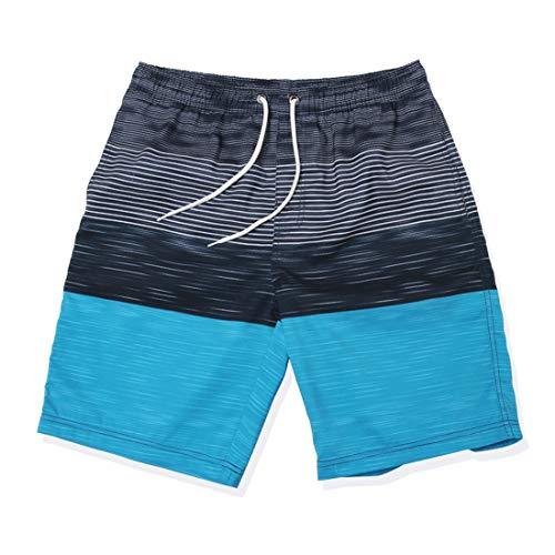 GWELL Herren Streifen Schnelltrocknend Badeshorts Beachshorts Boardshorts Badehose Sommer Strand Blau EU M