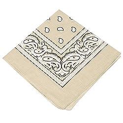 100% Cotton Women,Men & Kids Beige Paisley design bandana scarf / Hankerchief / Head tie / Neck Tie / Neckerchief (Pack of 1) … …