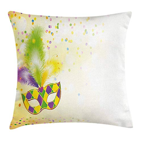 (Krooe Mardi Gras Dekokissen Kissenbezug Festival Maske mit dekorativen Federn Bunte Punkte Konfetti Party Kissenbezug 18