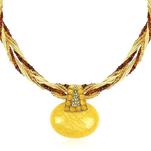 Signore-Signori Retro Gelb Ovale Aussage-Halskette Handgemachte Mode Schmuck Weihnachten (Cyber Monday Kostüm Angebote)