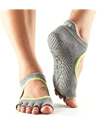 TToeSox agarre media punta calcetines Bellarina, calcetines de baile y se puede utilizar para barras, yoga, pilates, calcetines antideslizantes fitness - 1 par (Lime Grey, Medium)