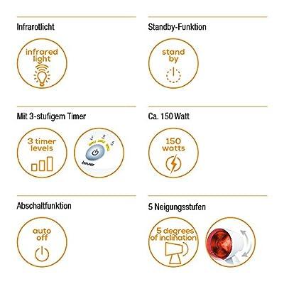Beurer IL 35 Infrarotlampe, wohltuende Wärme zur Behandlung von Erkältungen und Muskelverspannungen, 150 Watt von Beurer