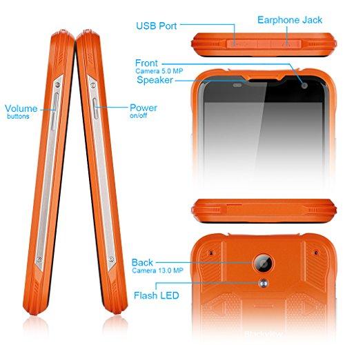 Blackview BV5000 Lte 4G- Smartphone Libre Android Impermeable Ip67  5 0  Hd  5000mAh  64 Bits quad Core  16Gb  2Gb Ram  13Mp  Dual Sim  Antipolvo Anti