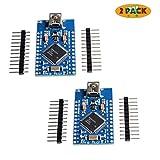 Morismoon - Pack de 2 mini USB ATmega32U4 Pro Micro 5 V 16 MHz módulo de placa para Arduino/Leonardo ATMega 32U4 controlador Pro-Micro reemplazo Pro Mini