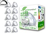 10x greenandco® LED Spot dimmbar ersetzt 40-50 Watt GU10 Halogenstrahler, 7W 530 Lumen 3000K warmweiß COB LED Strahler 38° 230V AC Glas mit Schutzglas, 2 Jahre Garantie