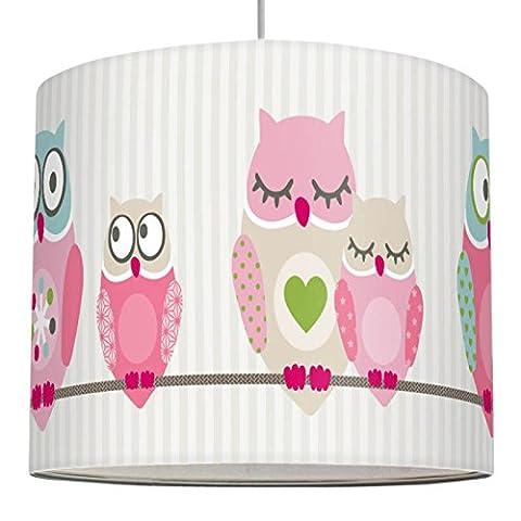 anna wand Lampenschirm SUMMER OWLS GIRLS – Schirm für Kinder / Baby Lampe mit Eulen in Rosa-Blau-Grün – Sanftes Licht für Tisch-, Steh- & Hängelampe im Kinderzimmer Mädchen & Junge
