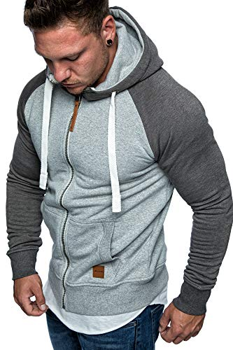 Amaci&Sons Herren Zipper Kapuzenpullover Sweatjacke Pullover Hoodie Sweatshirt 1-04030 Hellgrau/Anthrazit S - 2