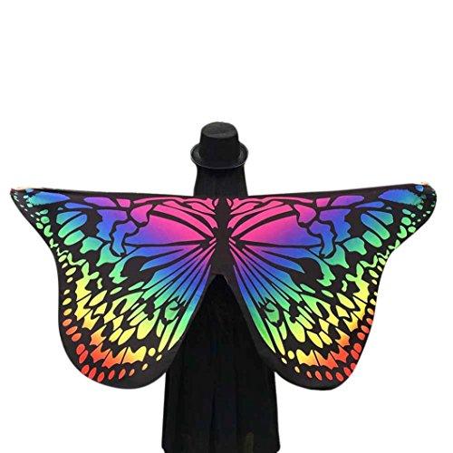 Frauen Schmetterling Flügel Schal, Hmeng Weiche Stoff Schals Mehrfarbige Schal Wrap Mädchen Cosplay Kostüm Zubehör für Party oder Show (145*65CM, Multicolour)