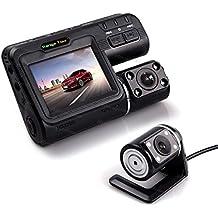 """Coche DVR cámara de doble lente i1000Full HD 1080p 2.0""""LCD Dash Cam + cámara de visión trasera + 4IR LED luz visión nocturna grabadora de vídeo H.264"""