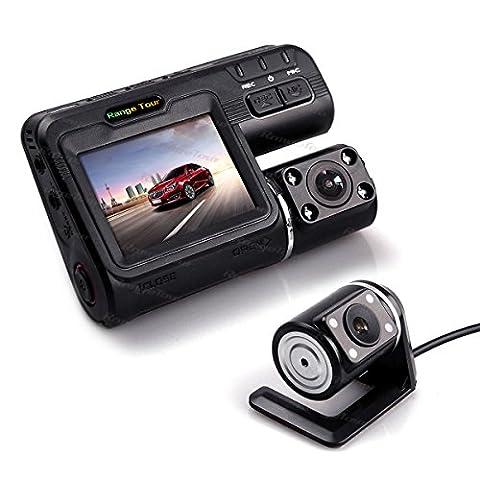 Rangetour Dual-Kamera DVR Armaturenbrettkamera fürs Auto I1000Full-HD 1080p 5,1cm LCD Dash-Cam + Kamera + 4IR LED-Licht Nachtsicht H.264Video-Recorder