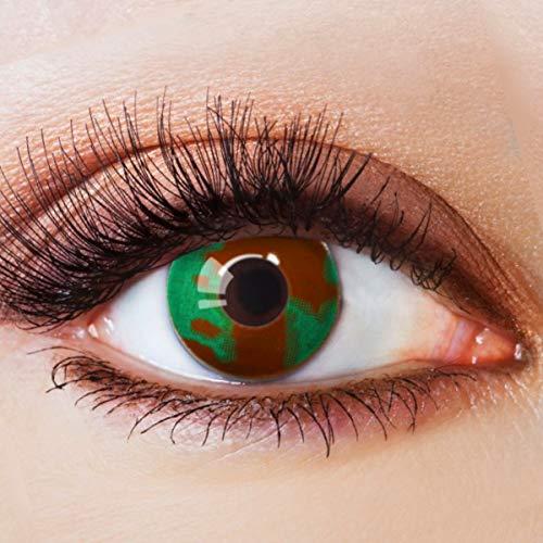 Farbige Kontaktlinsen Grün Motivlinsen Ohne Stärke mit Motiv Grüne Linsen Halloween Karneval Fasching Cosplay Kostüm Green Camouflage Eye (Halloween-kostüme Scary Clown Günstige)