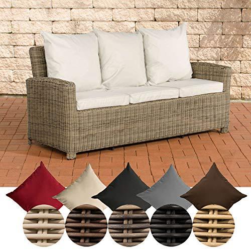 CLP Poly-Rattan 3er Sofa FISOLO aus Aluminium I Gartensofa für 3 Personen I Loungesofa mit Polsterkissen I 5mm Rattandicke Natura, cremeweiß