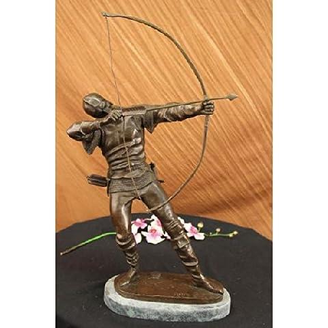 Statua di bronzo Scultura...Spedizione Gratuita...Firmato originale Guerriero europea Antico con arco e freccia(xn-2243-UK)Statue Figurine Figurine Nude per ufficio e casa Décor Primo Giorno Collezio - Antico Firmato