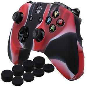 YoRHa Silikon Hülle Abdeckungs Haut Kasten für Microsoft Xbox One X & Xbox One S Controller x 1 (Tarnung rot) Mit Pro aufsätze thumb grips x 8