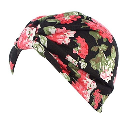Drucken Seide Mütze (Cap Transer® Damen Hüte Make-up Baumwolle Stretch Turban Schal Hut Wrap Hijib Schwarz Beige Rosa Grün Marine Drucken Blume Mützen mit Knoten (Schwarz))