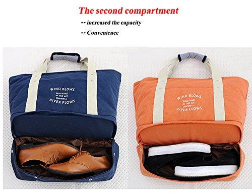 HongyuTing Damen Vintage Groß Weekender Handgepäck ,Canvas Reisetasche, Umhängetasche Navy blau