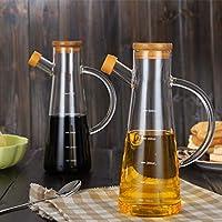 La botella del condimento hogar a prueba de calor vidrio borosilicato Graduado de manera controlable a prueba de fugas del engrasador de soja Botella salsa de vinagre Aceite de Sésamo Botella cocina c