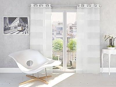 Splendid KATALONIA - Cortina de confección con trabillas ocultas (140 x 245 cm), color blanco roto