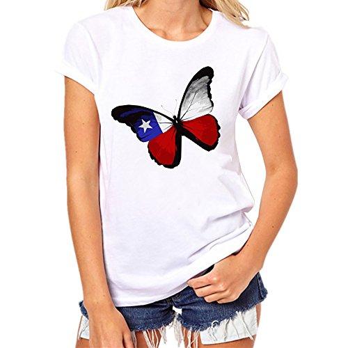 iYmitz Damen Mode Lose Oansatz Spitze Rundausschnitt Art- und Weise Frauen Kurzarm Herz T-Shirts Drucken Tops Bluse Shirts(B-WeißEU-40/CN-XL)