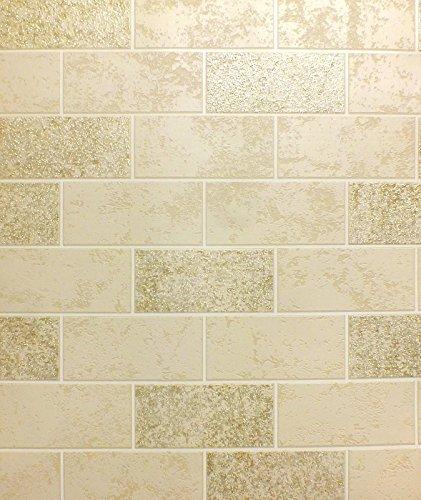 brick-effect-wallpaper-tile-glitter-luxury-washable-vinyl-beige-white-gold