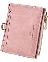 LQZ Women Leather Small Mini Wallet Card Holder Zip Coin Purse Clutch Handbag