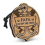Fashionalarm Schlüsselanhänger Anker Papa - Du bist der Beste aus Holz mit Gravur | Geburtstag Geschenk Idee Vater Vatertag zum Danke sagen