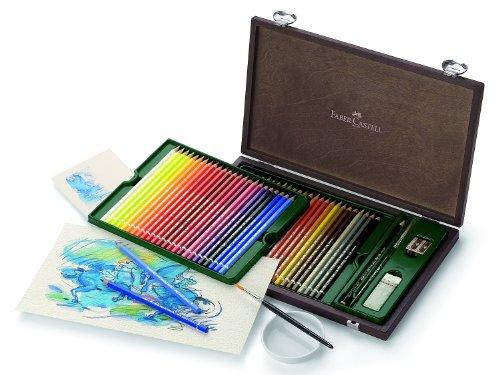 Faber-Castell 117506 – Estuche de madera con 48 ecolápices acuarelables y accesorios, multicolor