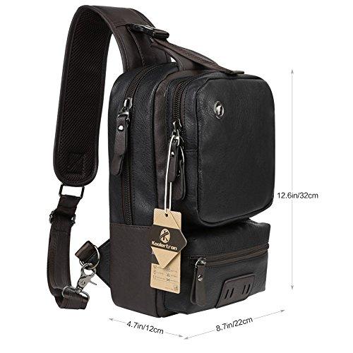 Koolertron vintage pelle sintetica spalla Sling Chest sport hiking bag bicicletta messenger a tracolla zaino viaggio zaino Zaino campeggio borsa Bookbag, Black nero
