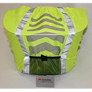 abereda Fahrradkorb vorne mit Lenkeradapter inkl. Regenabdeckung / Regenschutz neongelb mit Reflexstreifen
