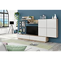 Habitdesign 026665F - Mueble de comedor, mueble salon moderno, acabado en Roble Canadian y Blanco Brillo, medidas: 250 x 42 cm de fondo