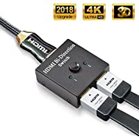 HDMI Switch, VIPFAN HDMI Splitter Bidireccional Entrada 2 a 1 Salida o Switch 1 a 2 Salida, Soporta 4K, 3D y 1080P para HDTV, Blu-Ray Player, PS3, PS4, DVD, DVR, Xbox